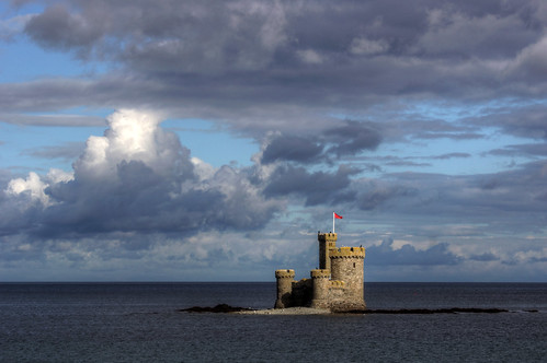 old uk sea man west tower castle clouds europe view britain sony small great historic tiny mann alpha isle 77 manx refuge a77 70400mm
