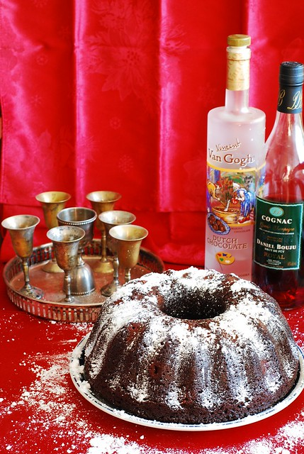 chocolate bundt cake recipe with filling, liquor soaked cherries