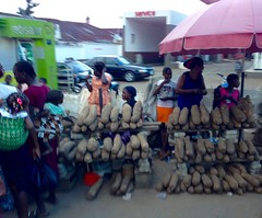 African yams, Adimula Palace Roundabout market scene, Ilesa, Osun, Nigeria.