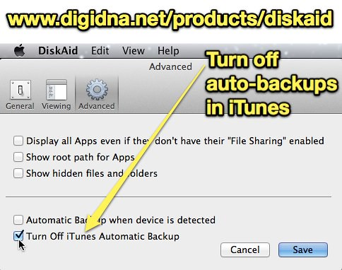 Turn off auto-backups in iTunes