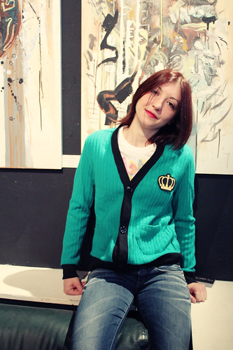 Queens Of Sounds Hexagon shape Pocket Wool Cardigan Emerald Green - Susanna