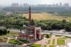 Аэросъемка в Москве Мемориальной мечети на Поклонной горе