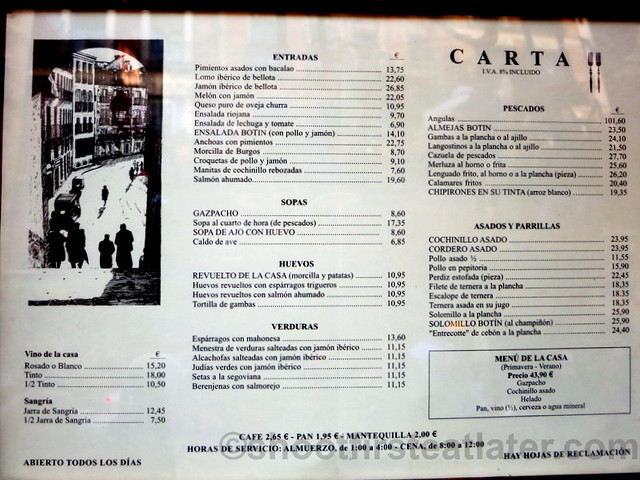 Restaurante Botin Spanish menu