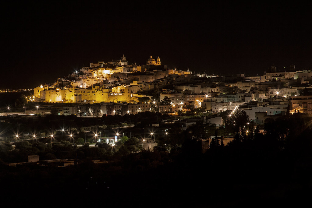 Ostuni la città bianca By night - Puglia Italia