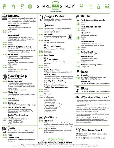 Shack Shack New Haven Menu