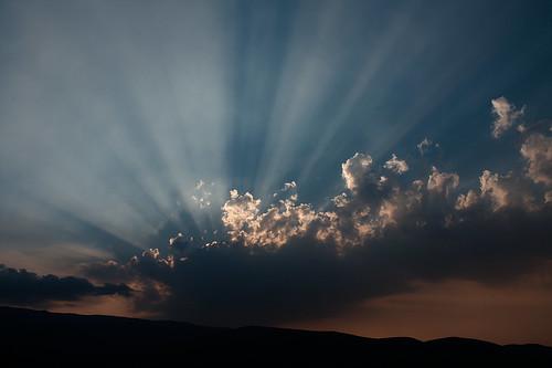 sunset sky sun mountain clouds albania berat