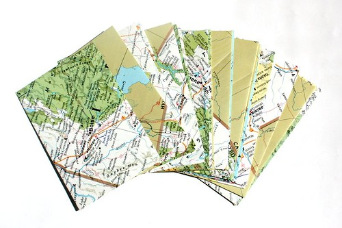Envelopes upcycled from vintage maps