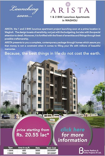Launching Soon ! Arista - 1 and 2 BHK Luxurious Apartments in Wagholi by Baxter Realtors and Infra Project Pvt Ltd by jungle_concrete
