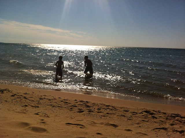 skipping rocks in Lake Michigan