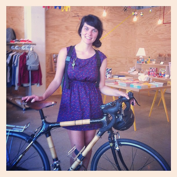 Riding into the #poketo shop with her killer bamboo bike! Nicole Lavelle!