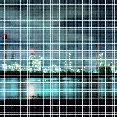 四日市工場夜景 自作ソフトでドット絵加工 元絵と多重露光処理