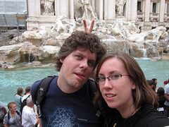 hello, trevi fountain. hello, adam and kathleen and bunny ears.