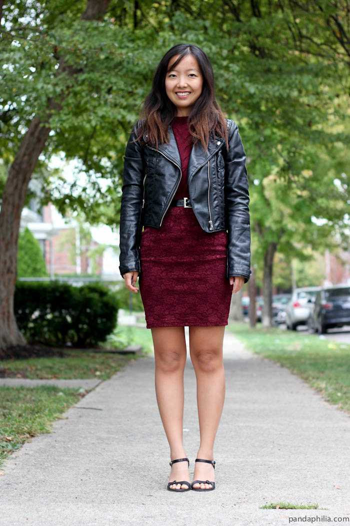 leather and burgundy night look