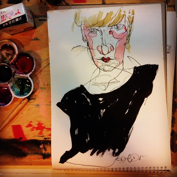sketch with ink & watercolor, 25sep2012.