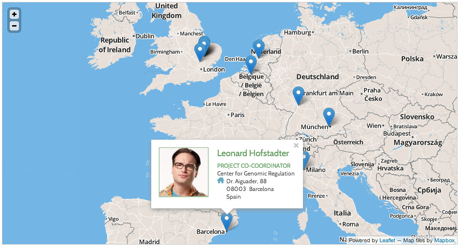An example map powered by Leaflet, Mapbox tiles and Drupal