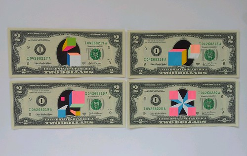 20 doodled dollars #17,18,19 and 20 by Carl Cashman