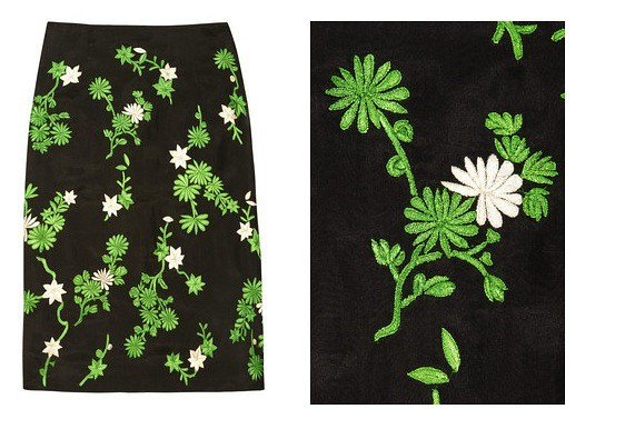 Jonathan saunders embroidered skirt