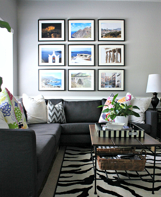 Hi sugarplum family room filling the big wall for Travel gallery wall ideas