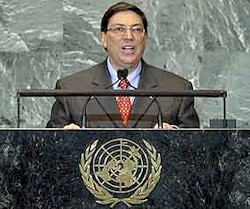 Republic of Cuba Foreign Minister Bruno Rodriguez Parrilla speaking before the United Nations General Assembly 67th Session in New York City. Cuba has withstood five decades of economic sanctions. by Pan-African News Wire File Photos