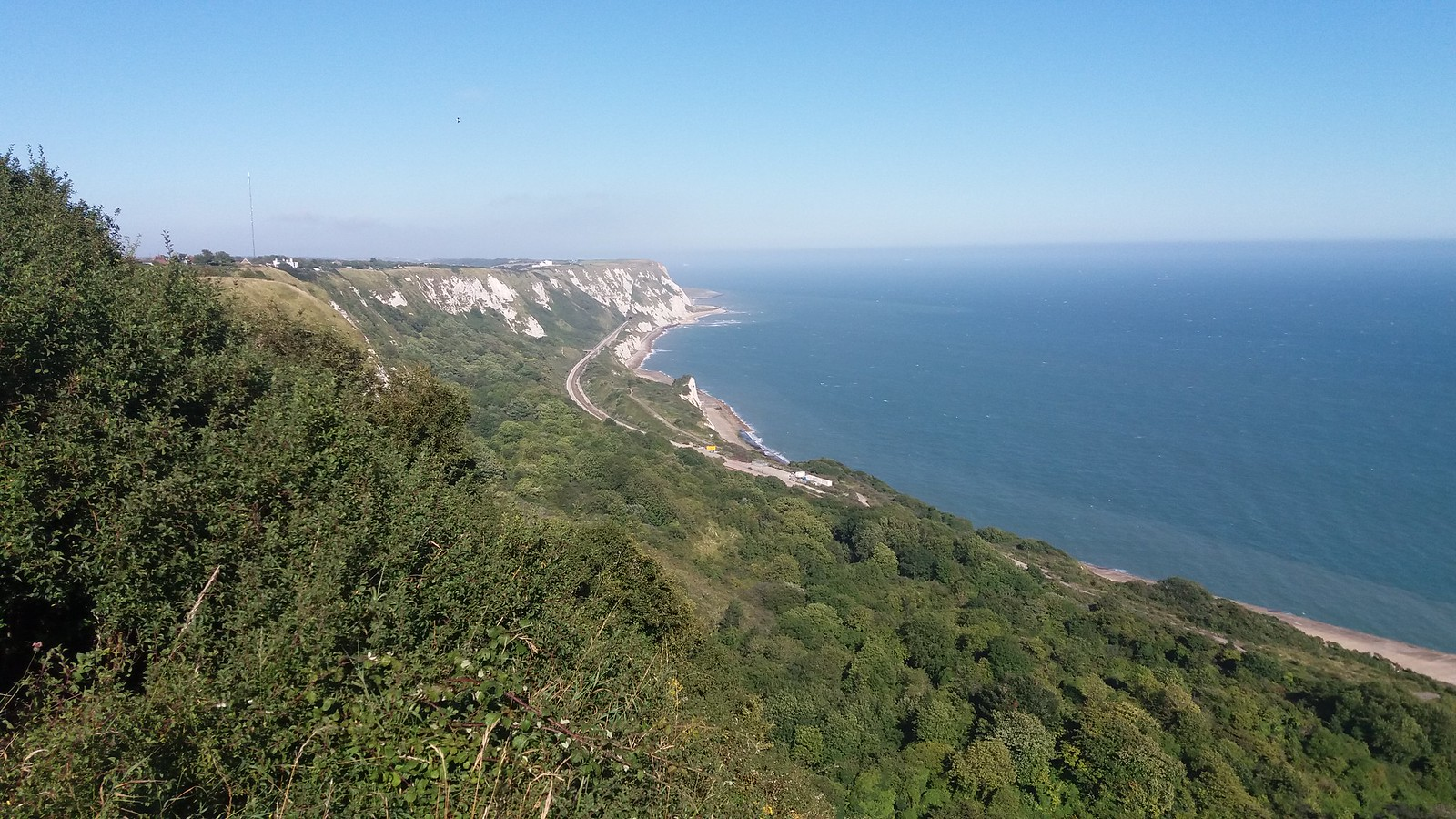 20160812_170104 The Folkestone Warren, rail line and Abbots Cliff in the distance