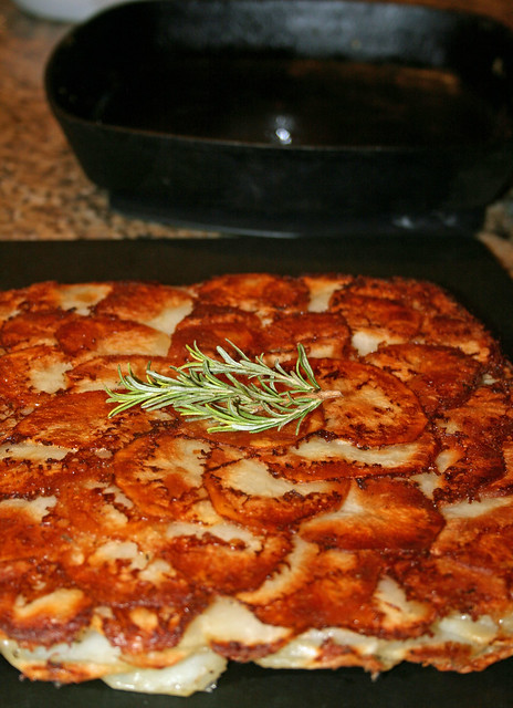 potato galette with rosemary and thyme