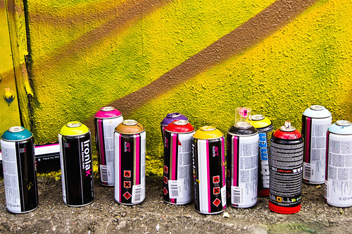 All lined up - Ironlak - Mtn - Houston Graffiti
