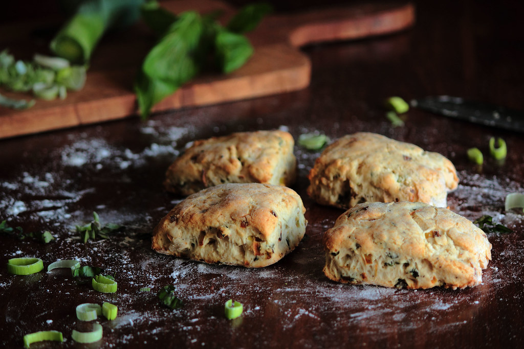 Caramelized Leek, Basil, & Black Pepper Biscuits