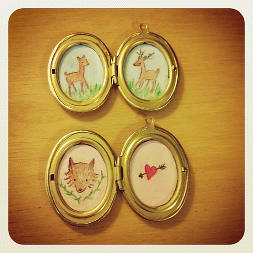 Making some oval lockets with miniature artwork inside! Deer and fox an heart. #handmade #etsy #craft