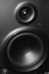 studio monitor, loudspeaker, subwoofer, electronic device, monochrome photography, circle, monochrome, black-and-white,
