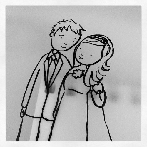 Making wedding drawings for a commission.