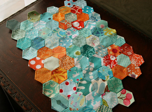 aqua orange hexies 3