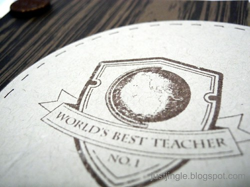 Woodgrain World's Best Teacher (detail)