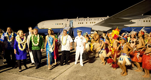 Secretary Clinton receives a traditional warm welcome on arrival in Rarotonga in the Cook Islands.
