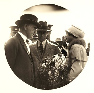 5 April 1927 - Duke and Duchess of York with Mr. William Forgan Smith (acting Premier of Queensland) at Wallangarra railway station