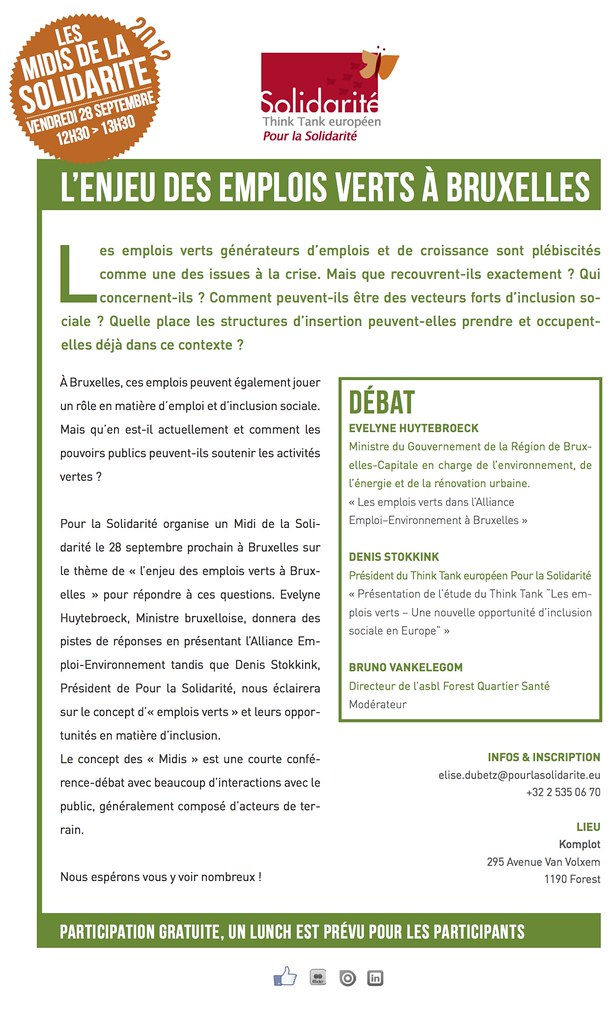 L'enjeu des emplois verts à Bruxelles, débat avec E. Huytebroeck