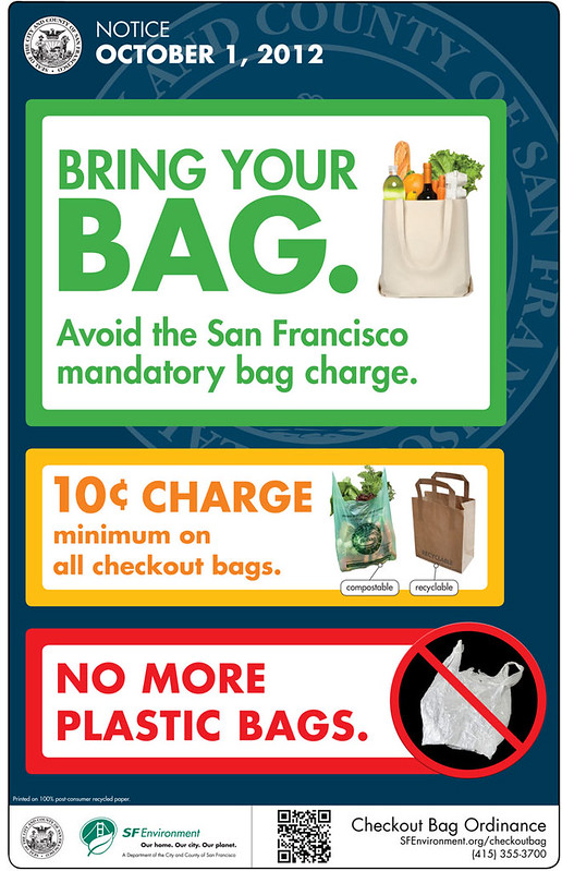 poster for San Francisco store owners, to educate the customer about the plastic bag ban