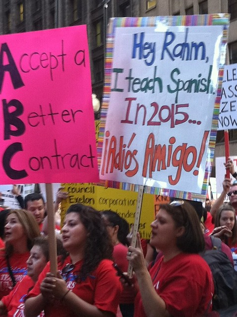 CTU Strike Sign: 'Hey, Rahm. I teach Spanish. In 2015, adios amigo.' from Flickr via Wylio