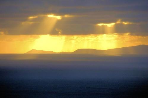 無料写真素材, 自然風景, 山, 雲, ダイヤモンドヘッド, 薄明光線, 風景  アメリカ合衆国, アメリカ合衆国  ハワイ州