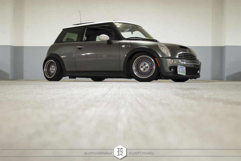 "White Mini Cooper with Klutch Wheels SL1 15x8.5"" silver with aggressive fitment stance with stretched tires"