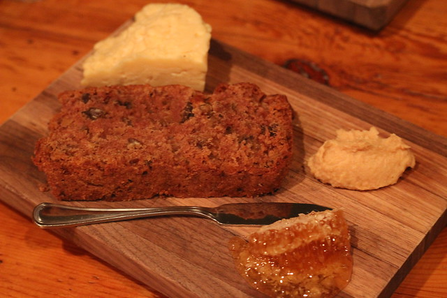 Handmade Cloth Cheese with Local Honey, Apple Butter and Spice Bread at Bluebird Tavern