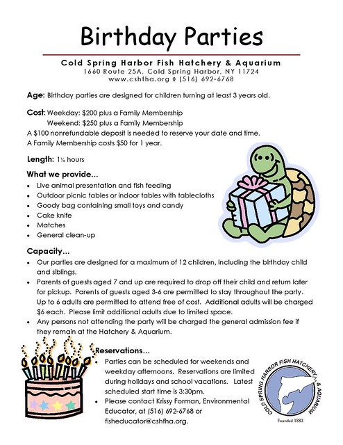 Cold Fish Hatchery and Aquarium Birthday Parties