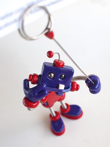 Purple Pave Mini Sign Holder Robot Sculpture by HerArtSheLoves