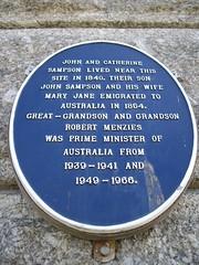 Photo of John Sampson, Catherine Sampson, and John Sampson blue plaque