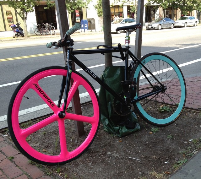 Central Square - HOT PINK + BABY BLUE BIKE, Cambridge, MA