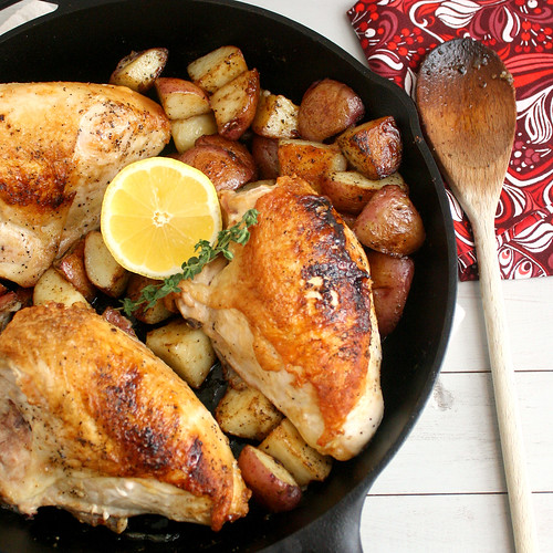 Pan-Roasted Chicken and Potatoes with Balsamic Glaze