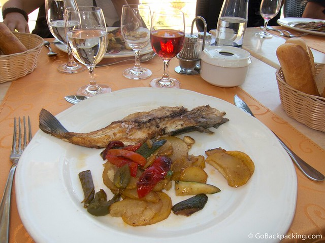 Sea bass with potatoes and seasonal vegetables