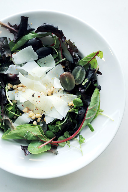 Pecorino, Black Grapes and Mixed Leaves