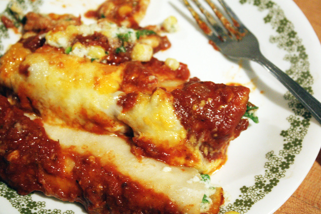 Roasted Corn And Ricotta Enchiladas With Chipotle Tomato Sauce Recipes ...