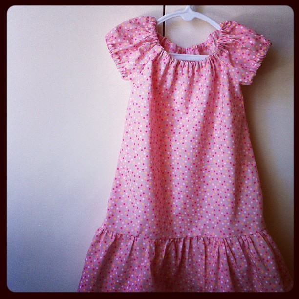 Elodie has a new dress! There were lots of breaks to feed Emerson, make lunch, change nappies, keep elodie entertained!