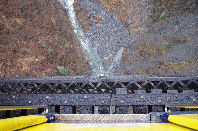 Hurricane Gulch 79 metre drop viewed from bridge - Alaska Railroad Aurora Winter Train